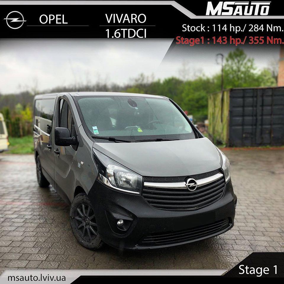 Чіп тюнінг Opel Vivaro 1.6 TDCI Stage1